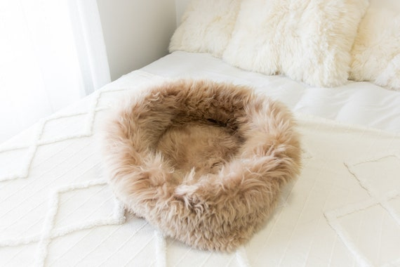 Sheepskin Cat Bed Or Dog Bed Cat Cave Unique Pet Bed Cat House Pet Furniture Hand Made With Genuine Real Sheepskin XXL Extra Large #Bed34