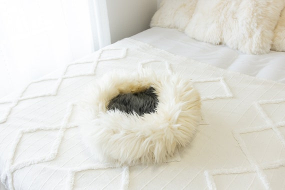 Sheepskin Cat Bed Or Dog Bed Cat Cave Unique Pet Bed Cat House Pet Furniture Hand Made With Genuine Real Sheepskin XXL Extra Large #Bed12