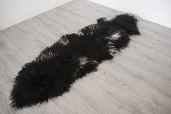 Real Black Icelandic Double Sheepskin Rug Scandinavian Decor Sheepskin throw Chair Cover Natural sheep skin rugs blanket fur rug #Islszyt5