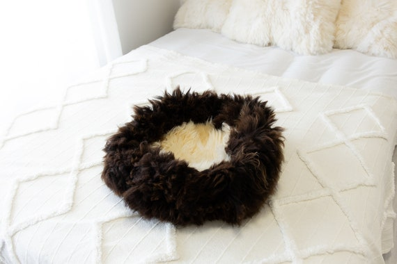 Sheepskin Cat Bed Or Dog Bed Cat Cave Unique Pet Bed Cat House Pet Furniture Hand Made With Genuine Real Sheepskin XXL Extra Large #Bed10