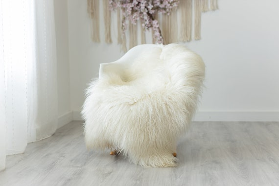 Real Sheepskin Rug Genuine Rare Mongolian Sheepskin Rug - Curly Fur Rug Scandinavian Sheep skin - Creamy White Sheepskin #G5
