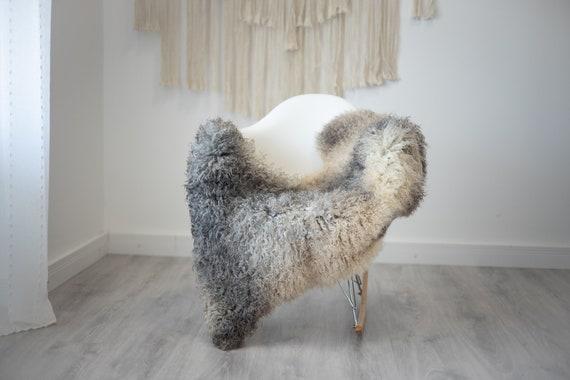 Real Sheepskin Rug Genuine Rare Gotland Sheepskin Rus - Curly Fur Rug Scandinavian Sheep skin - Gray Ivory Sheepskin #G31