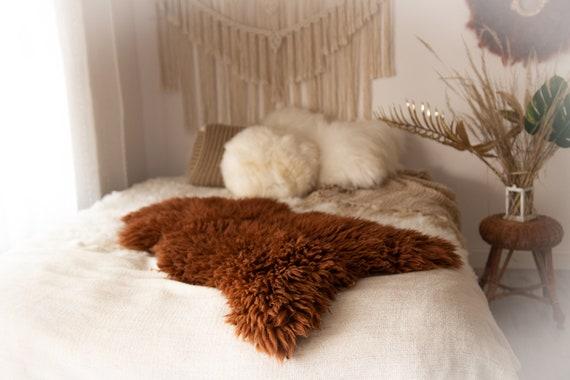Real Sheepskin Rug Shaggy Rug Chair Cover Sheepskin Throw Sheep Skin Copper Sheepskin Home Decor Rugs #KWAHER12