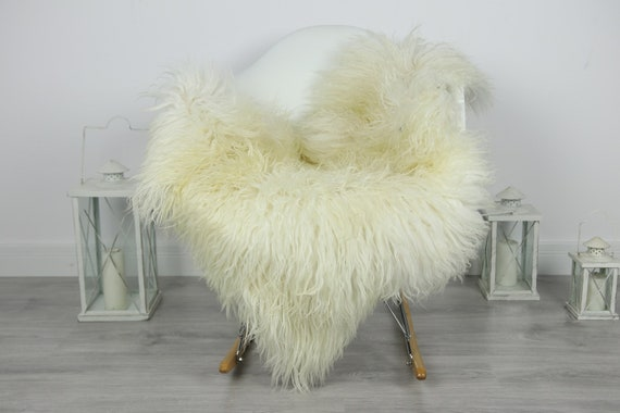Genuine Rare Mongolian Sheepskin Rug - Curly Fur Rug - Natural Sheepskin - Ivory Sheepskin #CURLY9
