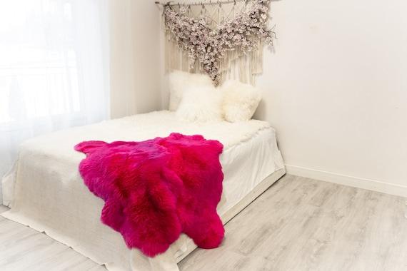 Double Pink Merino Sheepskin Rug | Long rug | Shaggy Rug | Chair Cover | Area Rug | Pink Rug | Carpet | Pink Sheep skin Merino Pink Throw