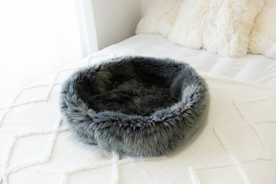 Sheepskin Cat Bed Or Dog Bed Cat Cave Unique Pet Bed Cat House Pet Furniture Hand Made With Genuine Real Sheepskin XXL Extra Large #Bed31