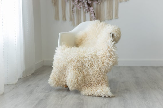 Real Sheepskin Rug Genuine Rare Gotland Sheepskin Rugs - Curly Fur Rug Scandinavian Sheep Skin - Creamy White Sheepskin #G12