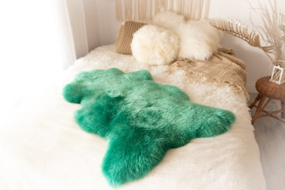 Real Sheepskin Rug Shaggy Rug Chair Cover Sheepskin Throw Sheep Skin Green Sheepskin Home Decor Rugs #KWAHER4