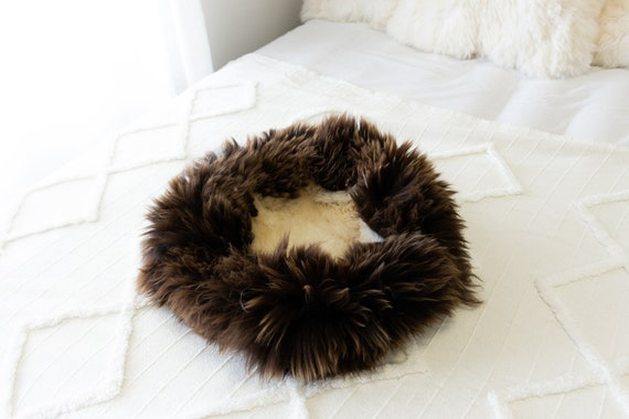 Sheepskin Cat Bed Or Dog Bed Cat Cave Unique Pet Bed Cat House Pet Furniture Hand Made With Genuine Real Sheepskin XXL Extra Large #Bed18