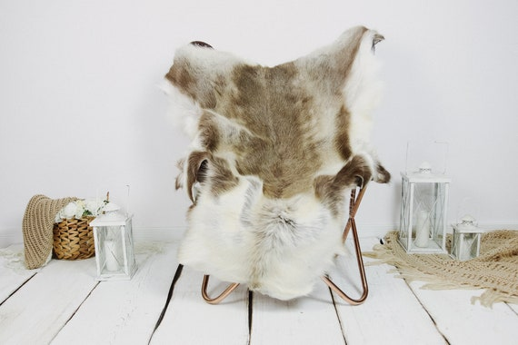 Reindeer Hide   Reindeer Rug   Reindeer Skin   Throw XXL EXTRA LARGE - Scandinavian Style Christmas Decor Brown White Hide #Kre2