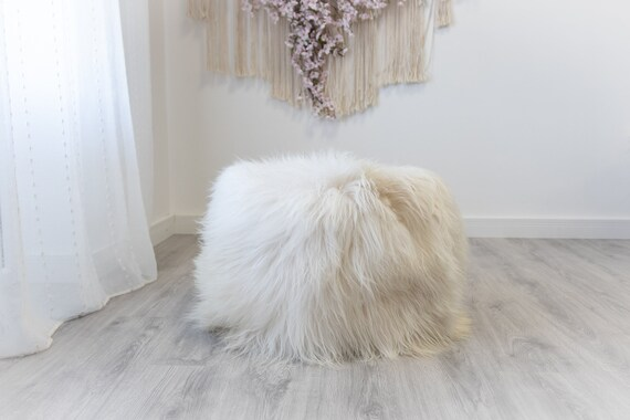 Icelandic Ivory Beige Sheepskin Pouf, Furry Pouf, Real Fur Sheepskin Ottoman Sheepskin Rug Scandinavian Decor Sofa Sheepskin Chair Cover