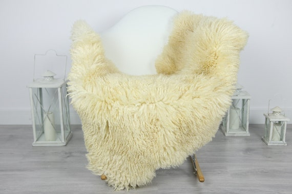 Genuine Rare Tuscan Lamb Sheepskin Rug - Curly Fur Rug - Natural Sheepskin - Ivory  Sheepskin | #CURLY26