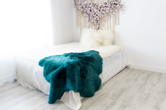 Double Turquoise Blue Merino Sheepskin Rug | Long rug | Shaggy Rug | Chair Cover | Area Rug | Turquoise Rug | Carpet | Turquoise Blue Throw