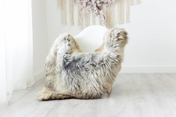 Real Sheepskin Rug Shaggy Rug Chair Cover Scandinavian Home Sheepskin Throw Sheep Skin Brown Gray Sheepskin Home Decor Rugs #herdwik234