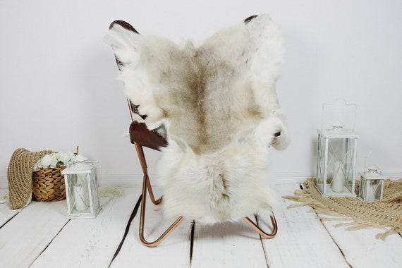 Reindeer Hide | Reindeer Rug | Reindeer Skin | Throw XXL EXTRA LARGE - Scandinavian Style Christmas Decor Brown White Hide #Kre21