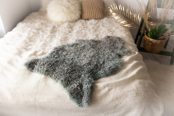 Real Sheepskin Rug Genuine Rare Gotland Sheepskin Rus - Curly Fur Rug Scandinavian Sheep skin - Gray Curly Sheepskin #Bohgot13