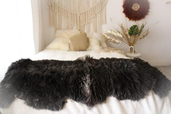 Double XXL Sheepskin Rug | Long rug | Shaggy Rug | Chair Cover | Runner Rug | Carpet | Brown Sheepskin | Sheepskin Rug | BRSEW3
