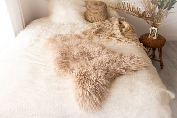 Real Sheepskin Rug Shaggy Rug Chair Cover Sheepskin Throw Sheep Skin Champagne Sheepskin Scandinavian Home Decor Rugs #Nuher10