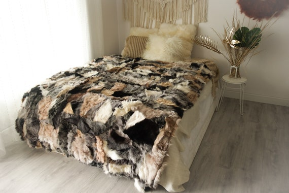 Luxurious Patchwork Toscana Sheepskin Real Fur Throw | Real Fur Blanket | n Sheepskin throw | Boho Throw |3FU8