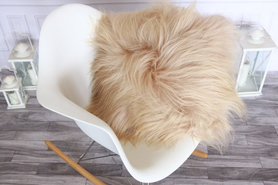 Real Icelandic Champagne Pink Sheepskin Pillow Sheepskin Cushion