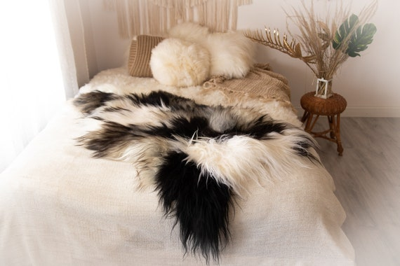 Real Icelandic Sheepskin Rug Scandinavian Decor Sofa Sheepskin throw Chair Cover Natural Sheep Skin Rugs Gray Black Blanket Fur Rug #KWAISL7