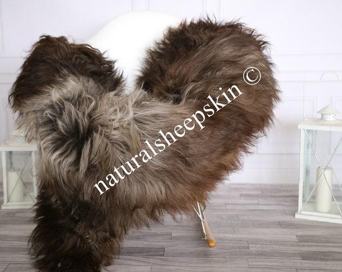 Icelandic Sheepskin | Real Sheepskin Rug | Sheepskin Rug Brown White | Fur Rug | Homedecor #MAYISL10