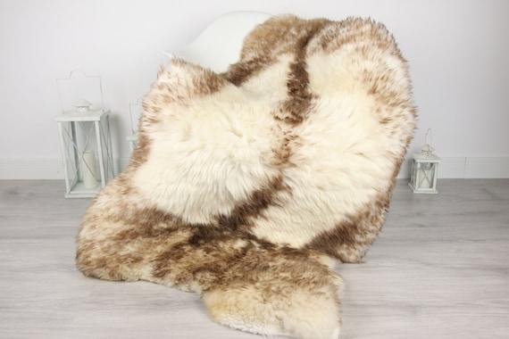 Genuine Natural Brown Tipped Sheepskin Rug, Pelt, soft long fur GIANT