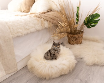 Sheepskin Cat bed or Dog Bed Cat cave , pet bed , cat house ,pet furniture hand made with Genuine Real Sheepskin XXL Extra Large
