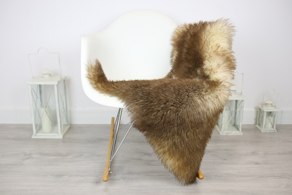 Genuine Rare Tuscan Lamb Sheepskin Rug - Curly Fur Rug - Natural Sheepskin - Brown Sheepskin | Small Sheepskin #3MARGOT2