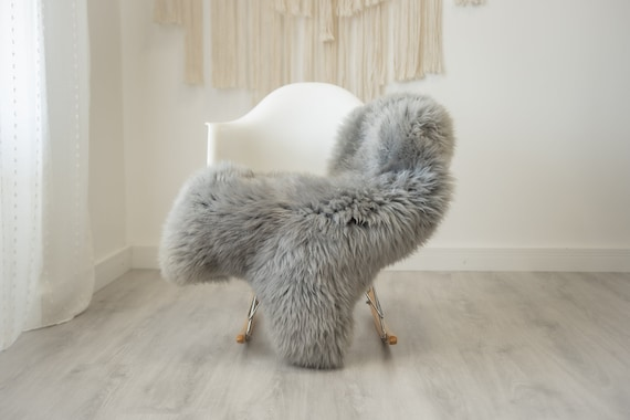 Real Sheepskin Rug Shaggy Rug Chair Cover Scandinavian Home Sheepskin Throw Sheep Skin Gray Sheepskin Home Decor Rugs #herdwik324