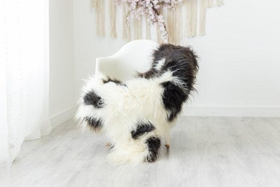 Real Sheepskin Rug Shaggy Rug Chair Cover Scandinavian Home Sheepskin Throw Sheep Skin Brown White Sheepskin Home Decor Rugs #herdwik236