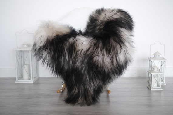 Real Icelandic Sheepskin Rug Pelt soft long fur Large Sheep Skin - Mouflon Black Chocolate Sheepskin Throw  Black Tips Cover Scandinavian