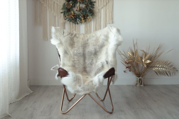 Reindeer Hide | Reindeer Rug | Reindeer Skin | Throw XXL EXTRA LARGE - Scandinavian Style Christmas Decor Brown White Hide #Wre14