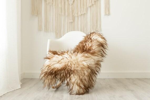 Real Icelandic Sheepskin Rug Scandinavian Home Decor Sofa Sheepskin throw Chair Cover Natural Sheep Skin Rugs White Brown Tips #Iceland504