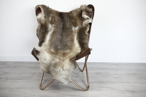 Reindeer Hide | Reindeer Rug | Reindeer Skin | Throw XXL EXTRA LARGE - Scandinavian Style Christmas Decor Brown White Hide #Ire40