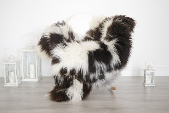 Real Sheepskin Rug Shaggy Rug Chair Cover Sheepskin Throw Sheep Skin Brown White Sheepskin Home Decor Rugs #6her49