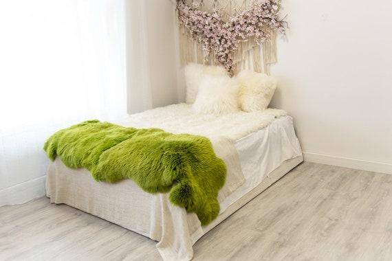 Double Green Merino Sheepskin Rug | Long rug | Shaggy Rug | Chair Cover | Area Rug | Green Rug | Carpet | Green Throw | Sheep Skin