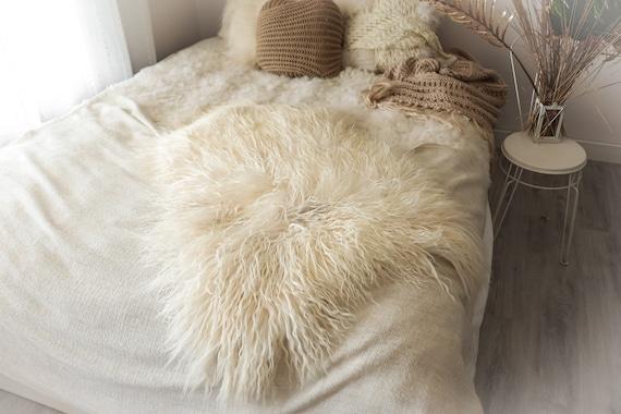 Real Sheepskin Rug Genuine Rare Mongolian Sheepskin Rus - Curly Fur Rug Scandinavian Sheep skin - Ivory White Curly Sheepskin #2Bohgot11