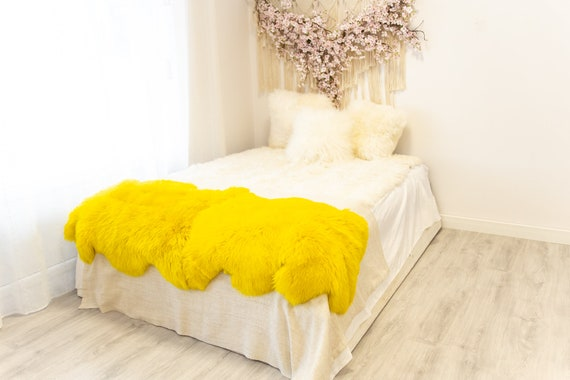 Double Yellow Merino Sheepskin Rug | Long rug | Shaggy Rug | Chair Cover | Area Rug | Yellow Rug | Carpet | Yellow Throw | Sheep Skin