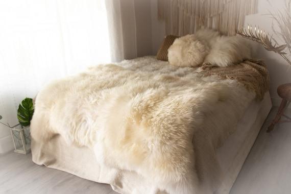 Real Fur Sheepskin Throw | Super Large | Sheepskin Rug | Boho Blanket | Merino Triple Sheepskin