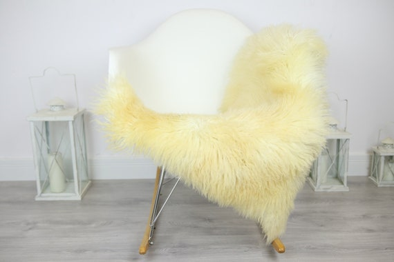 Genuine Rare Tuscan Lamb Sheepskin Rug - Curly Fur Rug - Natural Sheepskin - Ivory Sheepskin | Small Sheepskin #3MARGOT9