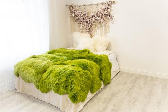 Genuine Natural Green Merino Sheepskin Rug, Pelt Giant Sheepskin Rug, Large Sheepskin Rug Sheepskin throw Green Sheep Skin Green Blanket