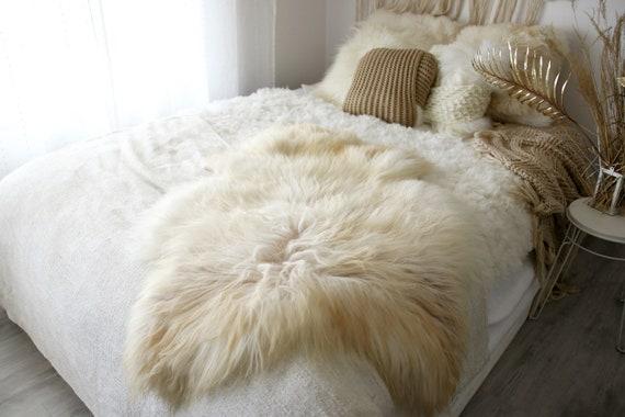 Real Icelandic Sheepskin Rug Scandinavian Decor Sofa Sheepskin throw Chair Cover Natural Sheep Skin Rugs Ivory Fur Rug #Dziatisl9
