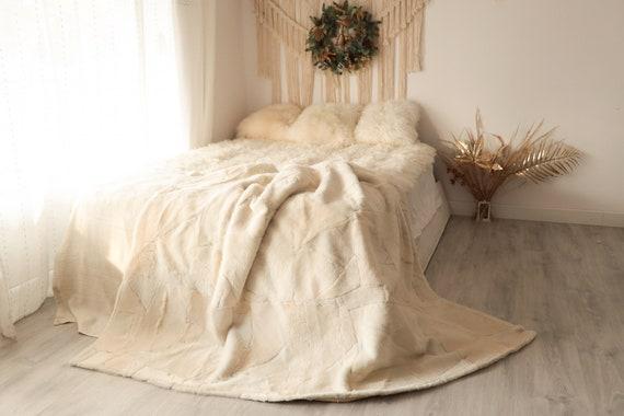 Luxurious Patchwork Toscana Sheepskin Real Fur Throw | Real Fur Blanket | Sheepskin throw | Boho Throw  | FUFU7