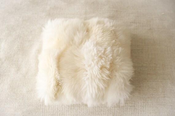 Beautiful unique real, natural SHEEPSKIN Pillow Sheepskin Cushion, soft, thick fur! - Large creamy white