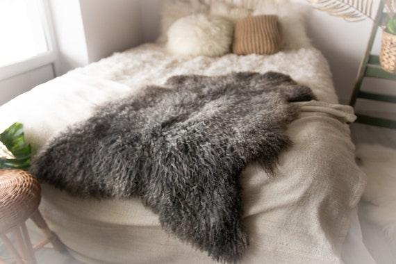 Real Sheepskin Rug Genuine Rare Gotland Sheepskin Rus - Curly Fur Rug Scandinavian Sheep skin - Gray Brown Sheepskin #Bohgot10