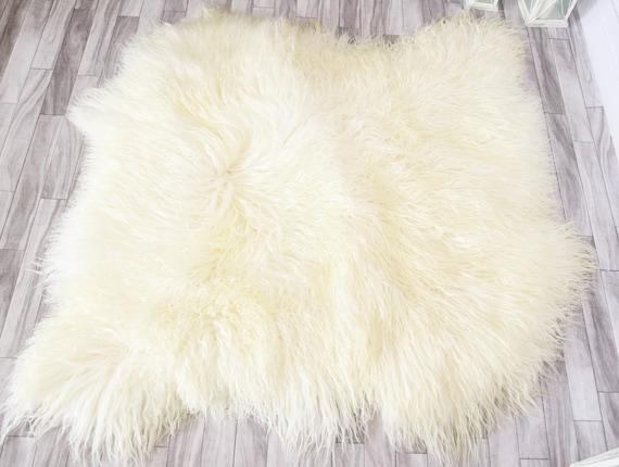 Double Real Mongolian Sheepskin Rug Square Sheepskin Rug Curly fur