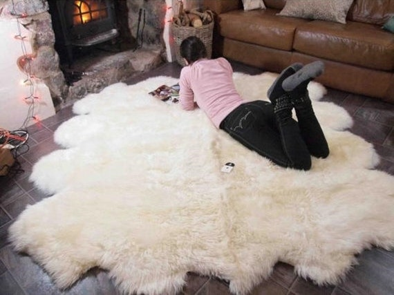 Genuine Natural creamy white Sheepskin Rug, Pelt,  Giant Sheepskin throw Octo Deca