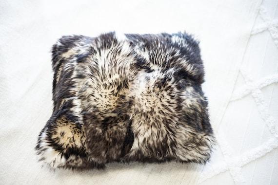 Sheepskin Fur Pillow, Real fur pillow, Black mouflon fur pillow, Square sheepskin pillow, Black pillow, scandinavian pillow, Both side fur