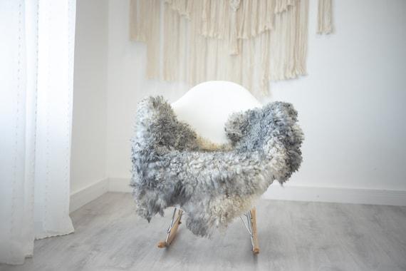 Real Sheepskin Rug Genuine Rare Gotland Sheepskin Rus - Curly Fur Rug Scandinavian Sheep skin - Gray Sheepskin #G36